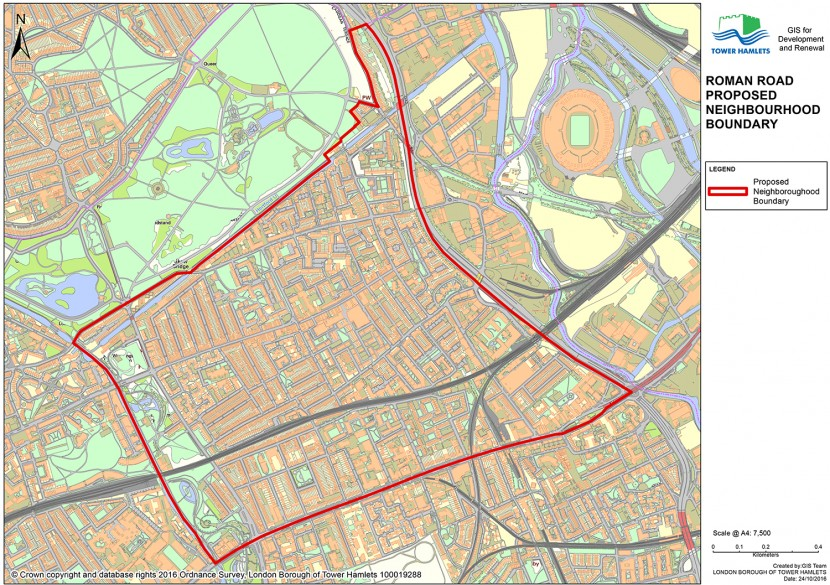 GIS map of Roman Road Neighbourhood Plan proposed area boundary