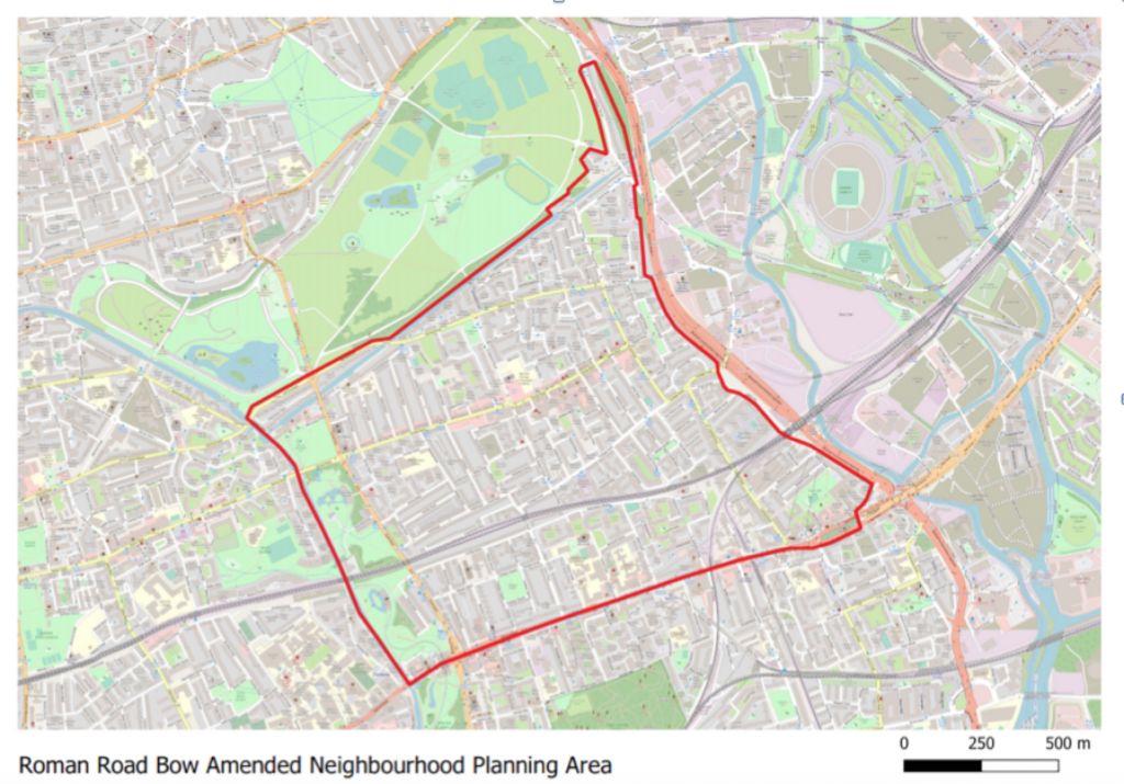 Amended boundary for Roman Road Bow Neighbourhood Plan