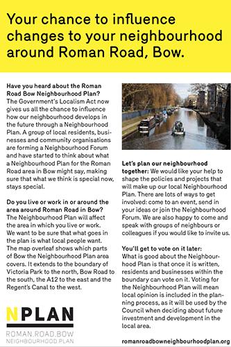 Roman Road Bow Neighbourhood Forum Leaflet - Join Us!